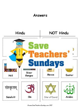 Hinduism Unit (11 lessons - K to 2nd grade)