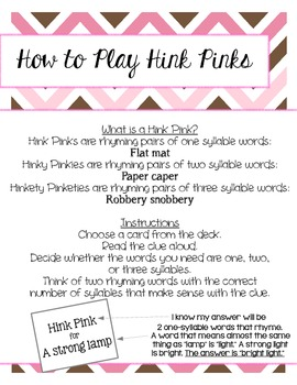 Hink Pinks: Word Riddles for Intermediate Students