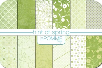 Hint of Spring Green & White Patterned Digital Paper Pack
