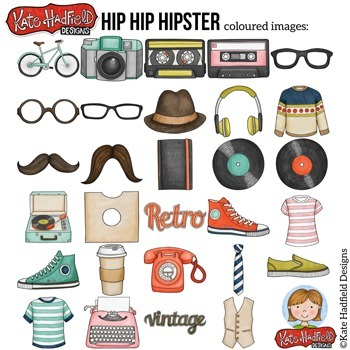 "Retro Hipster Clip Art: ""Hip Hip Hipster"""