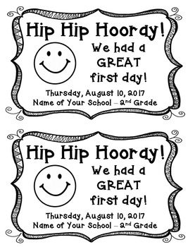 Hip Hip Hooray! Great First Day Note
