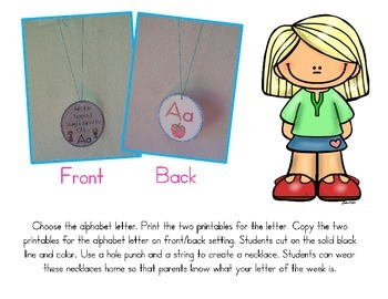 Hip, Hip, Hooray! I Learned the Letter A - I Learned My Alphabet Necklaces