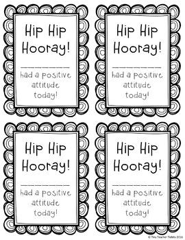 Hip Hip Hooray! Positive Notes Home