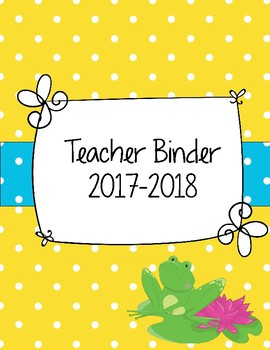 Hip Hop Bright Happy Frogs Teacher Binder Yellow and Teal Polka Dots
