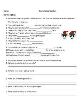 Hip Hop Elves worksheet
