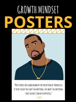 Hip Hop Music KANYE WEST YEEZY  Growth Mindset Motivational POSTERS for Teachers