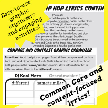 Hip Hop History Themed Lesson 1 with Hip Hop Worksheets, Reading Passage &  Song