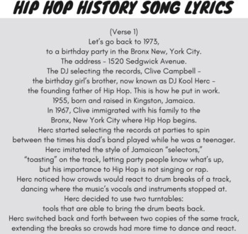 Hip Hop & Rap Music History 1, Sequence of Events Reading Passage with Rap Song