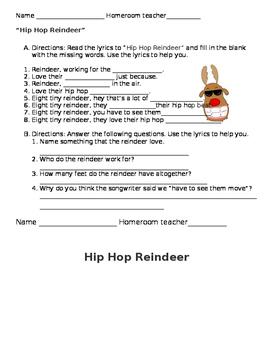 Hip Hop Reindeer worksheets