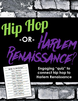 Hip Hop or Harlem Renaissance: Fun Quiz to Connect Hip Hop to Poetry