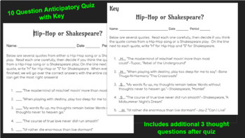 Hip-Hop or Shakespeare Intro Activity