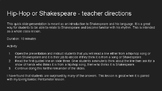 Hip-Hop or Shakespeare slide activity