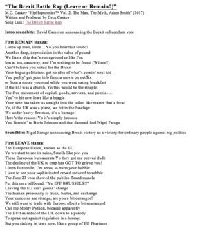 """HipHoponomics: """"The Brexit Battle Rap (Leave or Remain?)"""" (Lyrics Only)"""