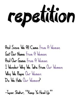 Hiphop Literary Device Poster: Repetition