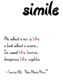 Hiphop Literary Device Poster: Simile