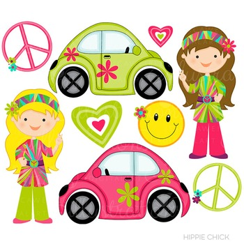 Hippie Chick Cute Digital Clipart, Retro Graphics