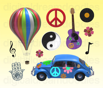 Hippie Clip Art and 70s Groovy Digital Graphics
