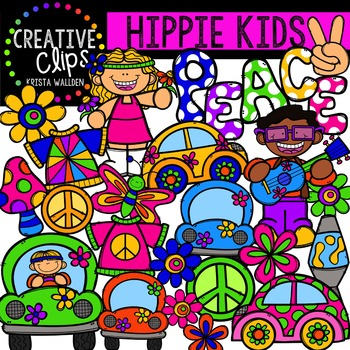 Hippie Kids {Creative Clips Digital Clipart}