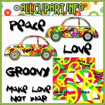 $1.00 BARGAIN BIN - Hippie Love Bugs Clip Art