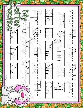 Hippity Hop Dotted Letter with Line Full Sheet Alphabet Practice Mat Dry Erase