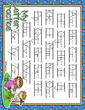 It's Springtime Dotted Letter with Line Alphabet Practice Mat Dry Erase