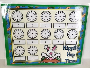 Hippity Hop Time Full Sheet Telling Time Blank Clocks Mat Dry Erase