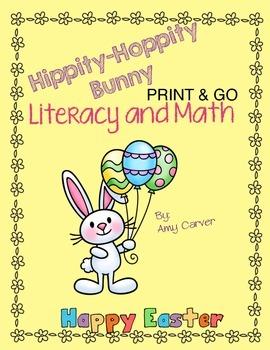 Hippity Hoppity Bunny Literacy and Math Activities-Print and Go!