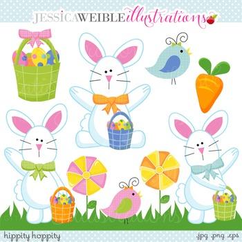 Hippity Hoppity Cute Digital Clipart, Easter Bunny Clip Art