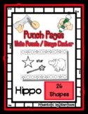 Hippo - 26 Shapes - Hole Punch Cards / Bingo Dauber Pages *s