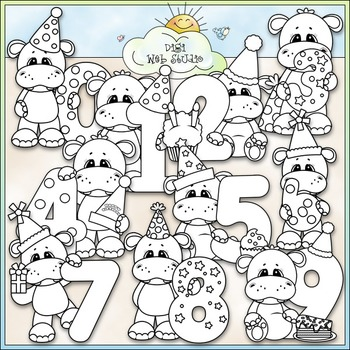 Hippo Birthday Numbers 1 - Commercial Use Clip Art & Black & White Images