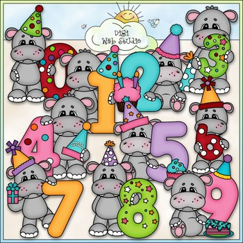 Hippo Birthday Numbers 1 - Commercial Use Clip Art & Black