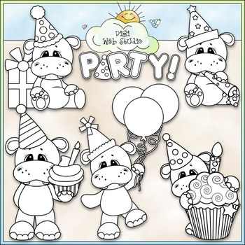 Hippo Birthday Party 1 - Commercial Use Clip Art & Black & White Images
