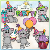 Hippo Birthday Party 1 - Commercial Use Clip Art & Black &