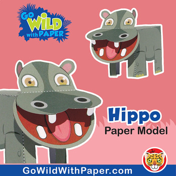 Hippo Craft Activity 3d Paper Model By Go Wild With Paper Tpt