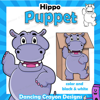 Hippo Craft - Paper Bag Puppet Hippopotamus