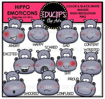 Hippo Emoticons Clip Art Bundle  {Educlips Clipart}