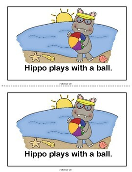 Hippo Goes to the Beach- booklet on prepositions with accompanying worksheet