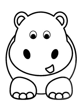 Hippo Template Hippo Coloring Page Hippo Outline Hippo For Art Hippo Bulletin