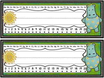 Hippo Theme (Boho Chic!) Desk Name Plates FREEBIE!