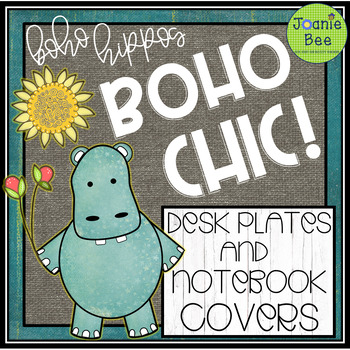 Hippo Theme (Boho Chic!) Desk Plates & Notebook Covers