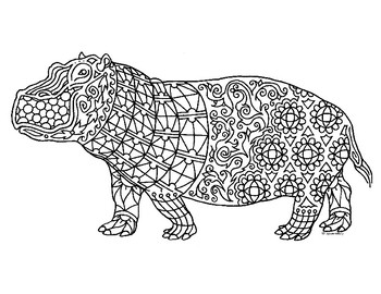 Hippo Zentangle Coloring Page