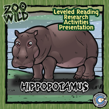 Hippopotamus -- 10 Resources -- Coloring Pages, Reading & Activities