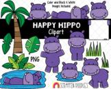 Hippopotamus ClipArt - Cute Hippo Clipart - Hippopotamus Habitat