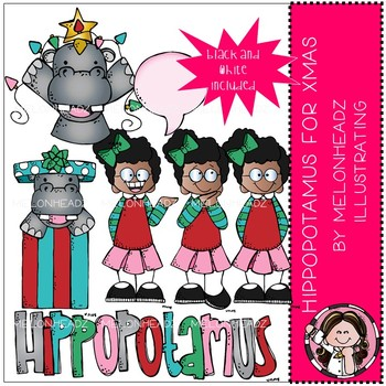Hippopotamus for Christmas clip art - Mini - Melonheadz Clipart