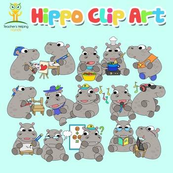 Hippos Clip Art - 34 Hippopotamus educational settings Color / B&W