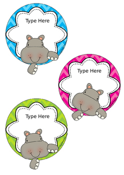 Hippos Editable Name Tags - Custom Order for Lauren