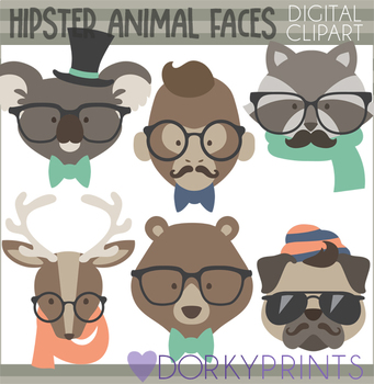 Hipster Animal Faces Clipart