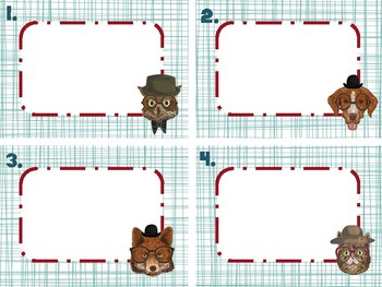 Hipster Animals Blank Task Card Template Crazy Cool Dog Fox Owl Cat