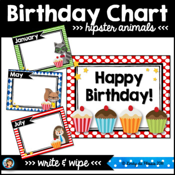 Hipster Animals Classroom Decor Birthday Chart By Lindy Du Plessis