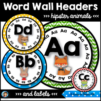Hipster Animals Classroom Decor Word Wall Headers